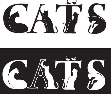 Katzen-Briefe, schwarze und weiße Silhouette Vektorgrafik