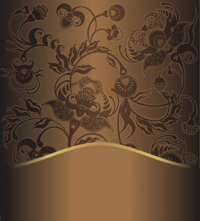 floral design, brown pattern retro Stock Vector - 14378692