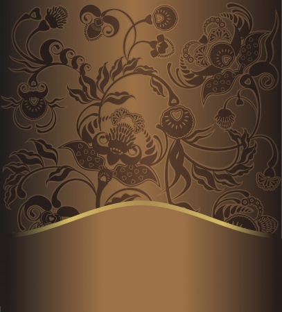 floral design, bruin patroon retro