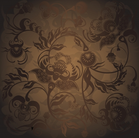 brown: floral design, dark pattern gradient