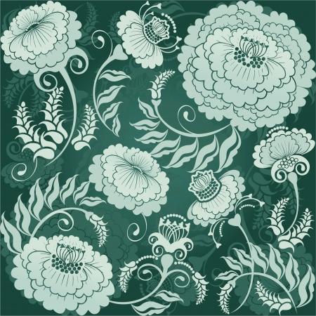 curle: floral design green flowers, gradient