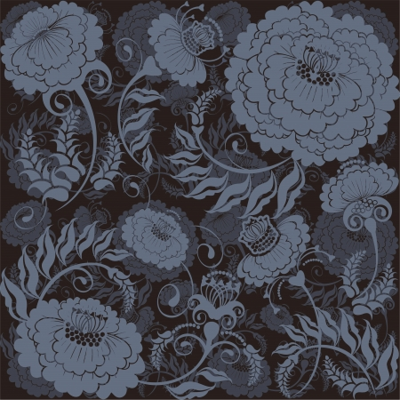 floral design dark grey, gradient background Illustration