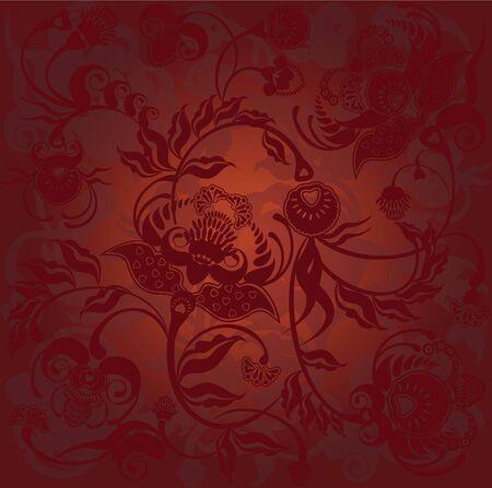 motif floral, gradient du fond sombre