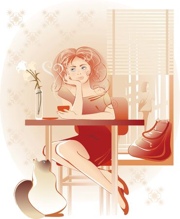 pretty girl and coffee cup Vector