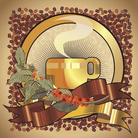 coffeecup:  black coffee cup , retro label