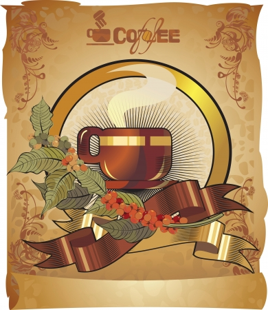 black coffee cup , retro label  Vector