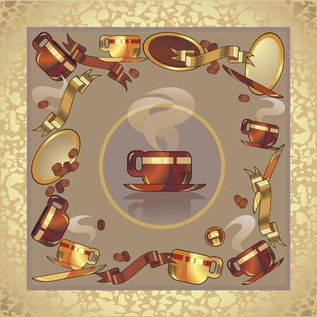 rusting: coffee cup set, background Illustration