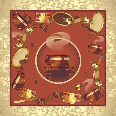 rusting: coffee cup set, background red