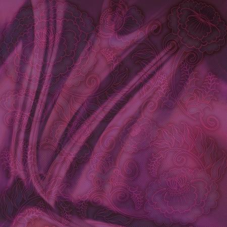 floral design dark silk fabric