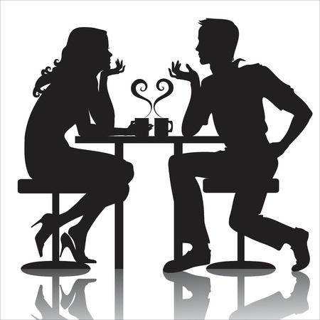 conversations: coppie in caff� Vettoriali
