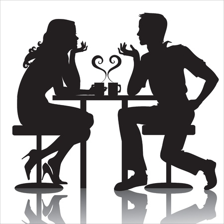 couples in cafe Illustration