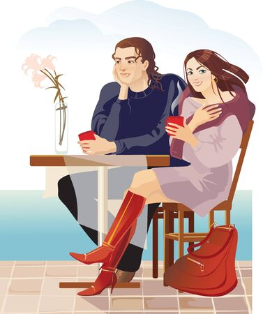 couples in cafe, sea coast Vector