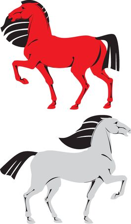 symbol animal colored silhouettes horses Vector