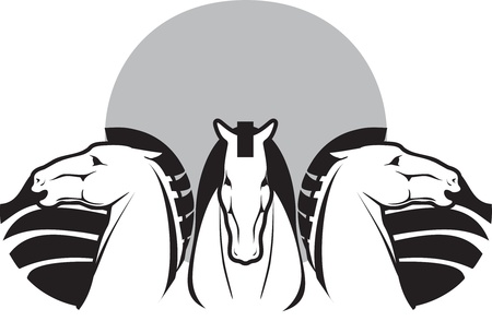 symbol animal,   silhouettes three horses Vector