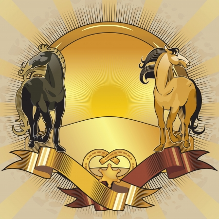 design elements horses background golden Vector