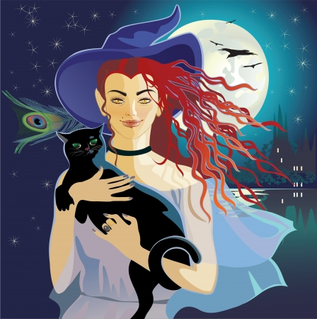hair feathers: Halloween nightly witch with black cat Illustration
