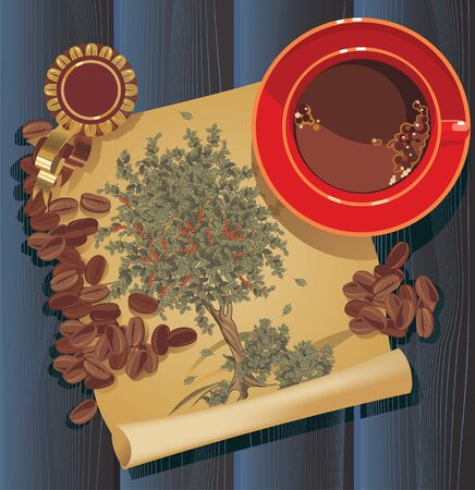 coffee tree graphic, old paper Vector
