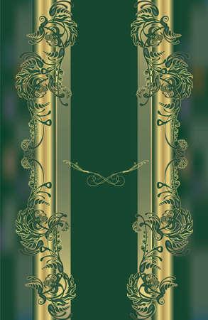 menu, floral design green, vintage Stock Vector - 16248481