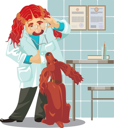 moustached: veterinarian clinic, doctor and spaniel Illustration