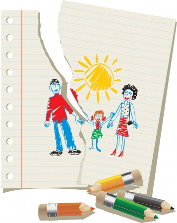 divorce: choldren et les parents, les enfants Illustration