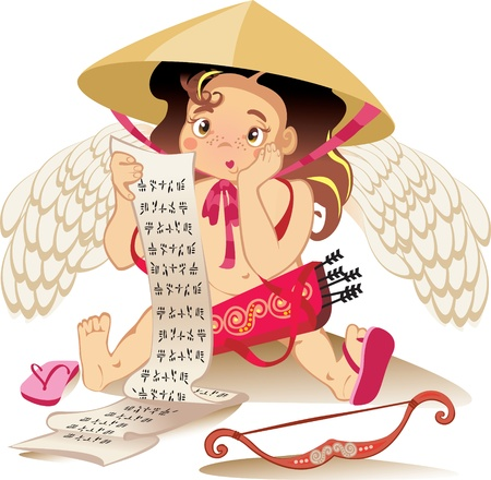 rubicund: cupid chines, Valentine day character Illustration
