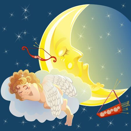 sleeping cupid, Valentine day postcard Vector