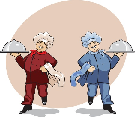 two cooks in uniform, walking Vector