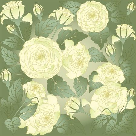 gele rozen: bloemdessin gele rozen Stock Illustratie