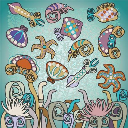 wather: sea background, design elements
