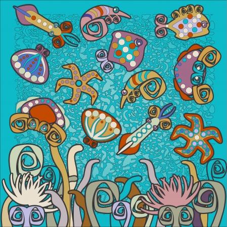 wather: sea background, sea animals