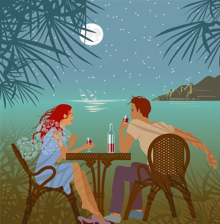 couple romance saiting about tropical sea