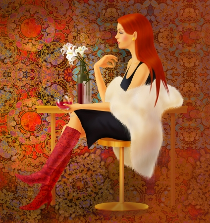 redhair girl drinking red vine Stock Photo - 24740794