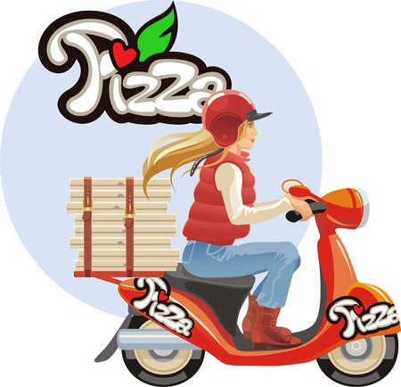 delivery pizza, blond girl photo