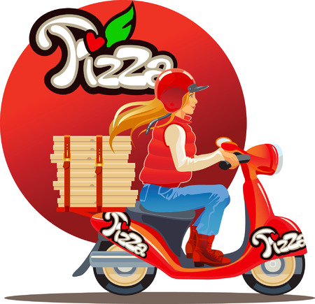 pepperoni pizza: pizza delivery blond girl , red scutter Illustration