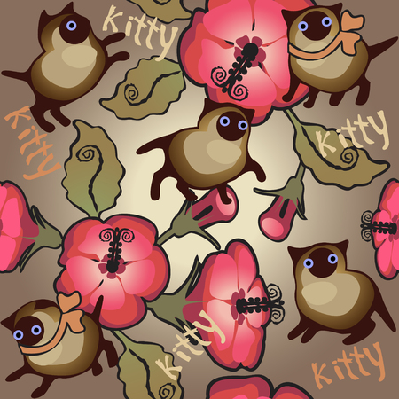siamese: siamese kitten and hibiscus; seamless
