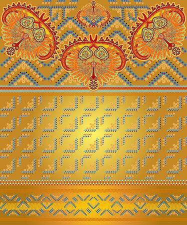 floral design goldenwaves blue background Illustration