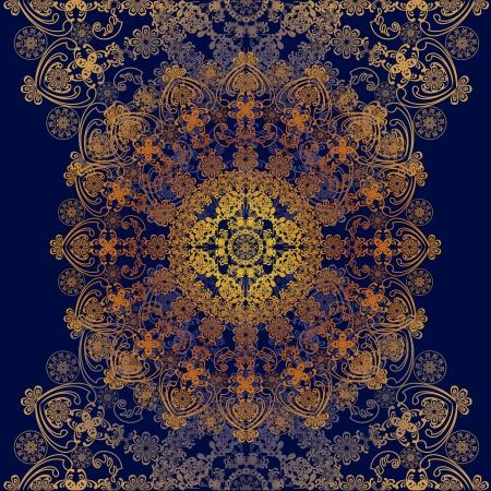 dark blue: floral ornament dark blue and golden Illustration