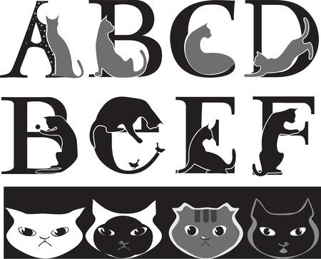 animalistic font, cat- letters  Ilustração