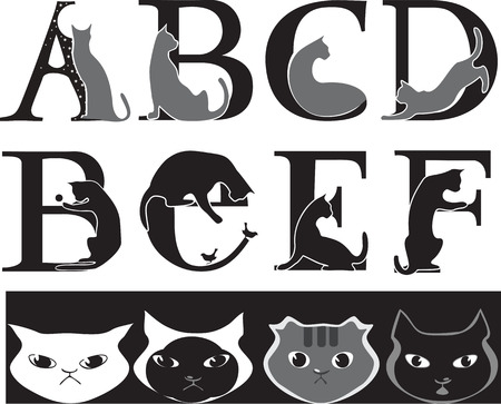 animalistic font, cat- letters  Vector