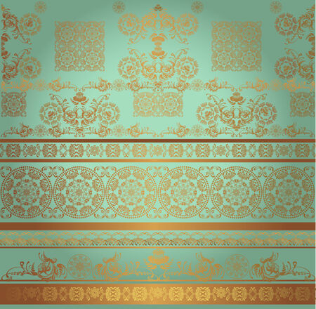 pattern green and golden Vector