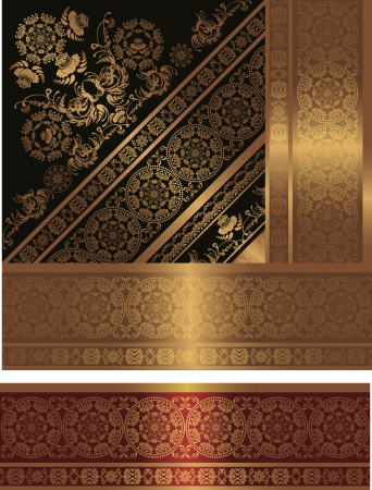 floral frame, golden and black Vector