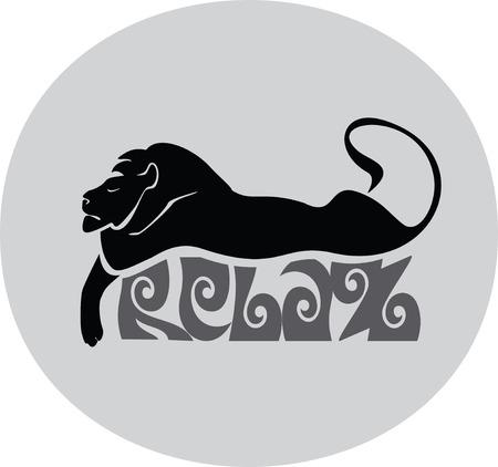 sleeping lion, label past Vector