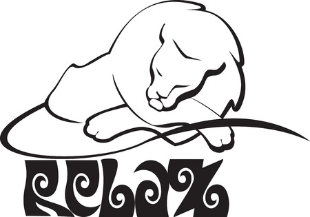sleeping white lion Vector