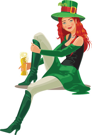 st  Patric day redheaded young girl