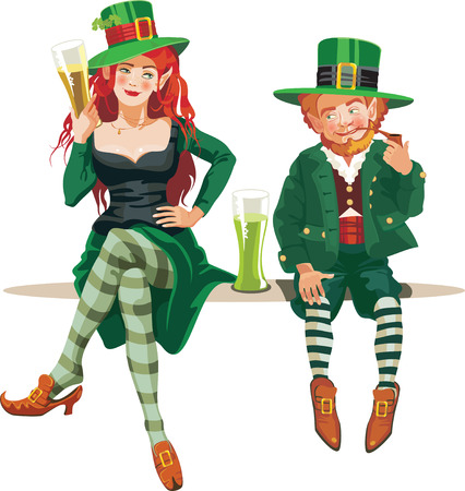 elf girl and leprechaun drinking beer