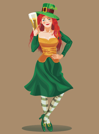 hessian boots: st  Patric day redheaded young girl