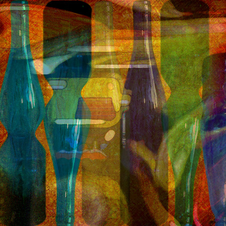 abstract design, wine bottles photo