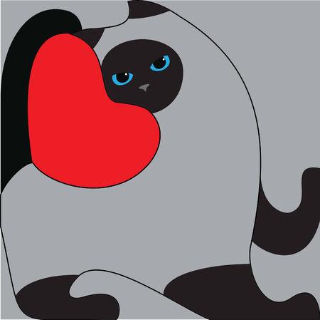 gato gris: ojos azules gato gris Vectores