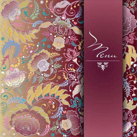 floral postcard design  Vector