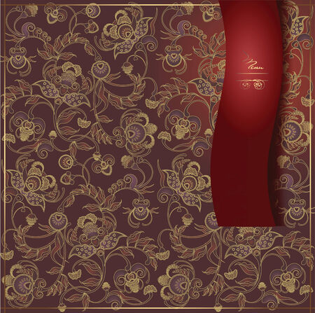 rojo oscuro: dise�o floral del men� de color rojo oscuro Vectores